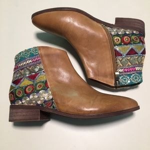 Anthro Antelope Embroidered Sequin Boho Booties